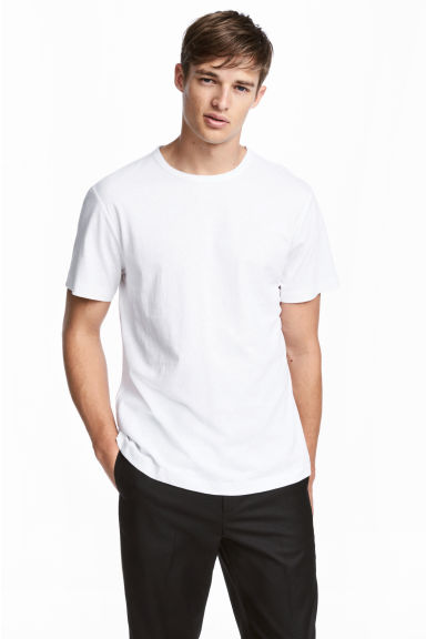 Linen-blend T-shirt - White marl - Men | H&M CN 1