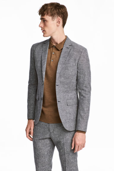 Wool-blend jacket Slim fit - Grey marl - Men | H&M CN 1