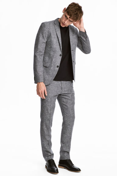 Suit trousers Slim fit - Black marl -  | H&M IE