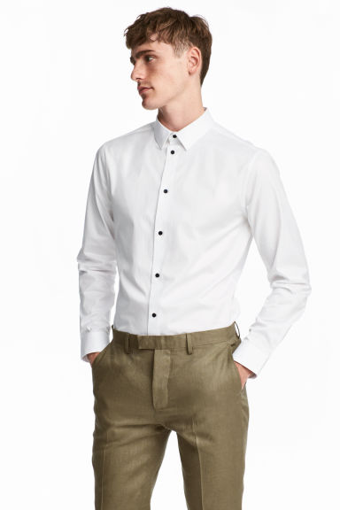 Premium cotton shirt - White - Men | H&M