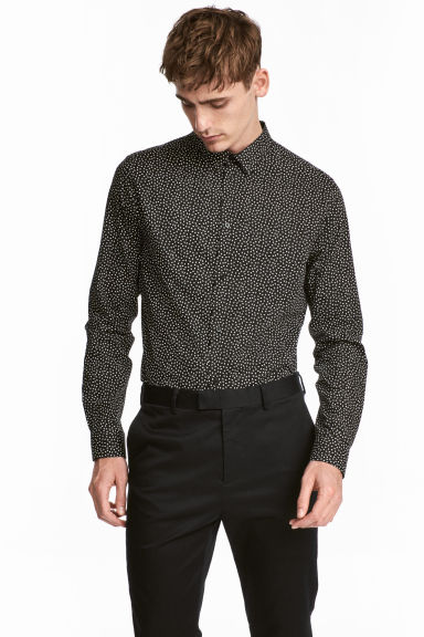 Cotton-blend shirt Slim fit - Black/Patterned - Men | H&M GB