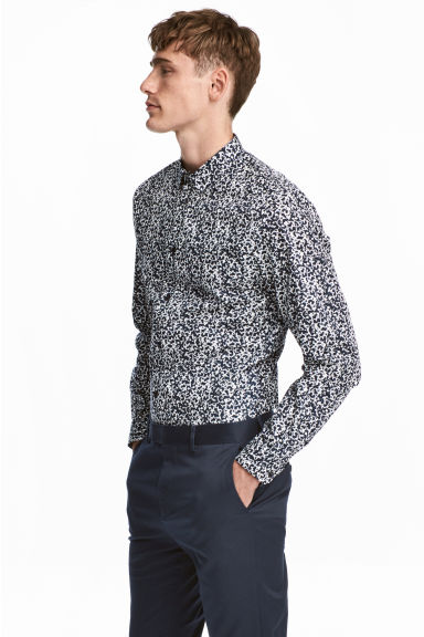 Shirt in premium cotton - Dark blue/Patterned - Men | H&M GB