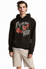 Hooded top with a print motif - Black/Cypress Hill - Men | H&M 1