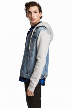 Denim jacket with a hood - Denim blue/Grey - Men | H&M 1