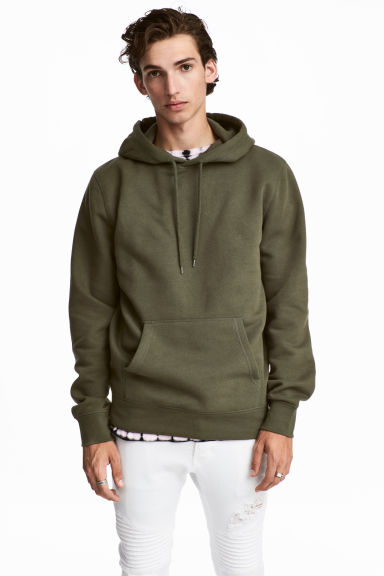 Hooded top - Dark khaki green - Men | H&M