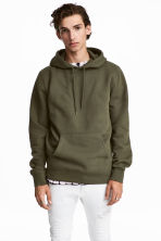 Hooded top - Dark khaki green - Men | H&M 1