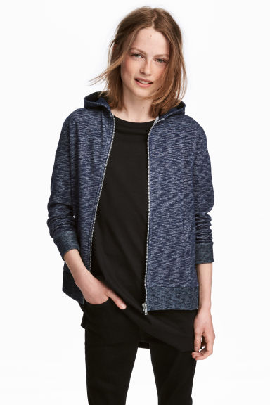 Hooded jacket - Dark blue marl -  | H&M CA 1