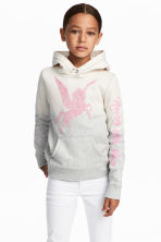 Hooded top with a motif - Light grey/Natural white - Kids | H&M 1