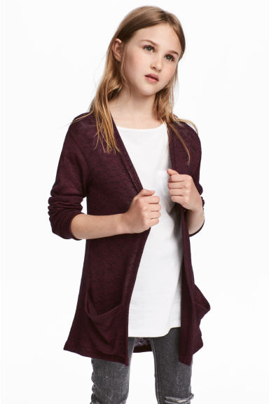 Fine-knit cardigan - Burgundy - Kids | H&M 1