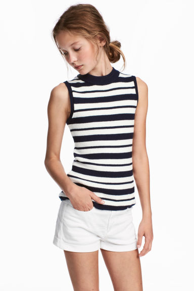 Ribbed top - Dark blue/White striped - Kids | H&M