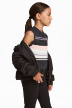 Ribbed top - Dark grey/Striped - Kids | H&M 1