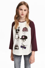 Printed jersey top - White/Burgundy - Kids | H&M CN 1