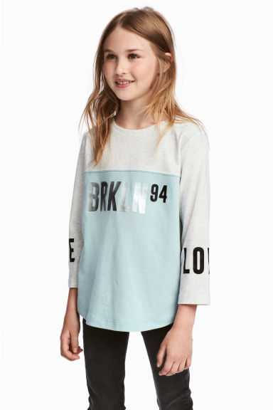 Printed jersey top - Grey/Turquoise - Kids | H&M 1
