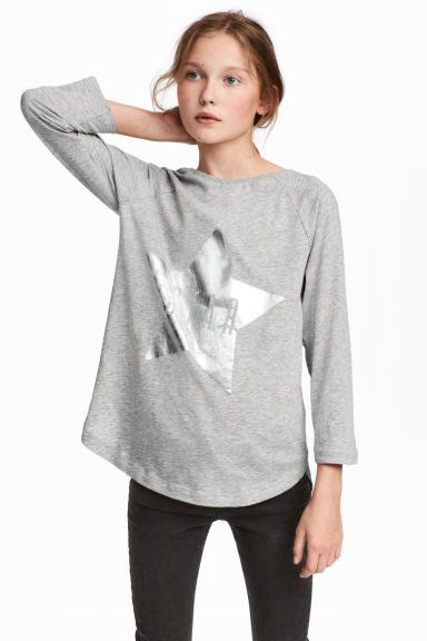 Printed jersey top - Grey marl/Star - Kids | H&M CA 1