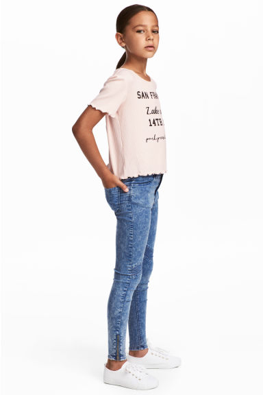 Biker trousers - Blue washed out - Kids | H&M CN 1