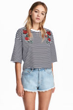 Jersey top with embroidery - Dark blue/White striped - Ladies | H&M 1