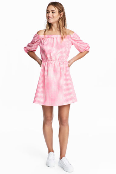 露肩洋裝 - Pink/White checked - Ladies | H&M 1