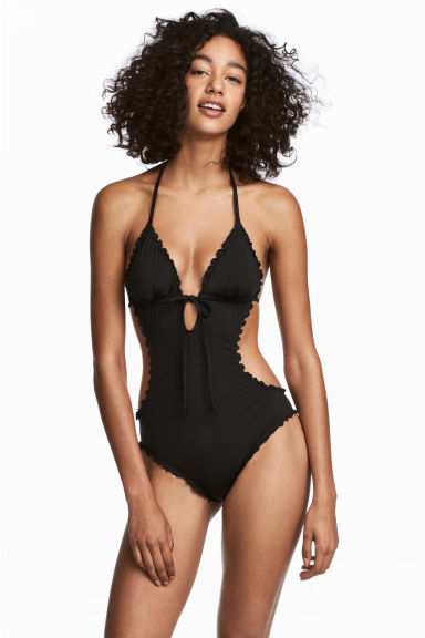 Frill-trimmed swimsuit - Black - Ladies | H&M 1