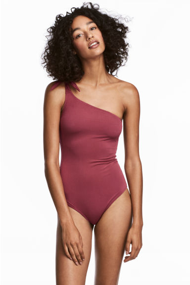 One-shoulder swimsuit - Dark pink - Ladies | H&M