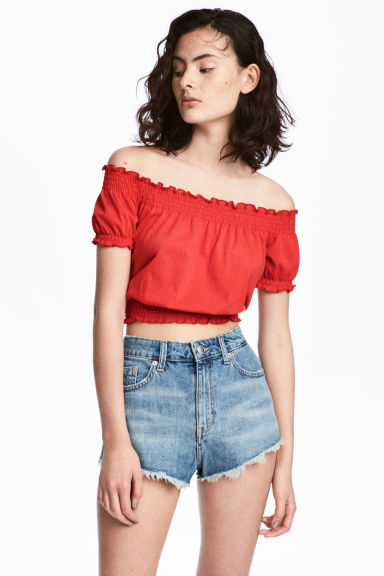 Short off-the-shoulder top - Red - Ladies | H&M CN 1
