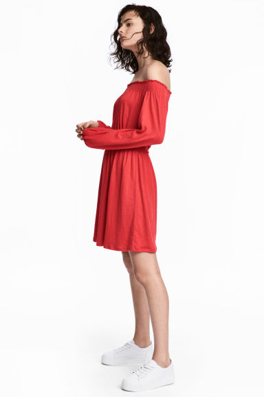Off-the-shoulder Dress - Red - Ladies | H&M CA 1