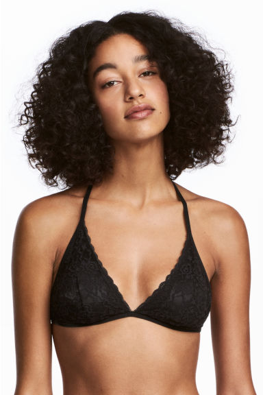 2-pack halterneck lace bras - Black/White - Ladies | H&M