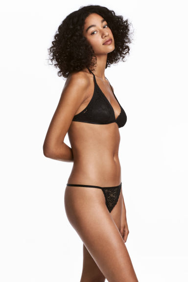 Thong in pizzo, 3 pz - Nero - DONNA | H&M IT 1