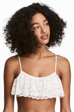 Frilled bralette - White - Ladies | H&M CN 1