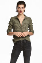 Lyocell Utility Shirt - Khaki green - Ladies | H&M CA 1