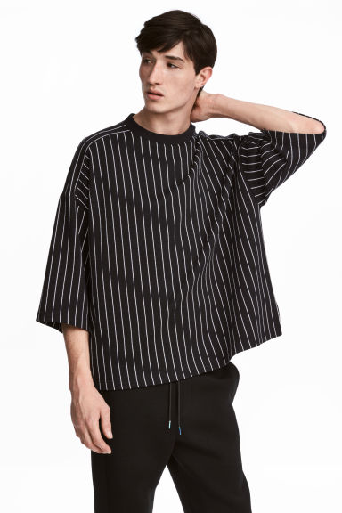 Striped T-shirt - Black/White striped - Men | H&M GB 1