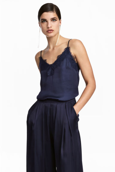 Strappy satin top with lace - Dark blue -  | H&M