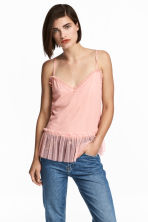 Frill-trimmed mesh strappy top - Light pink - Ladies | H&M CN 1