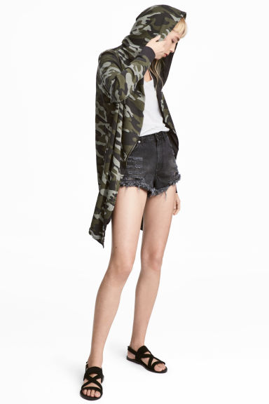 Hooded sweatshirt cardigan - Khaki green/Pattern -  | H&M CA 1