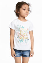 Printed jersey top - White/Butterflies - Kids | H&M CN 1