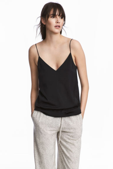 V-neck top - Black - Ladies | H&M CN 1