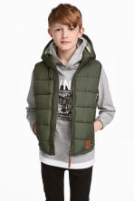 Padded gilet with a hood - Khaki green -  | H&M 1