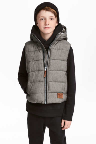 Padded gilet with a hood - Grey marl - Kids | H&M 1