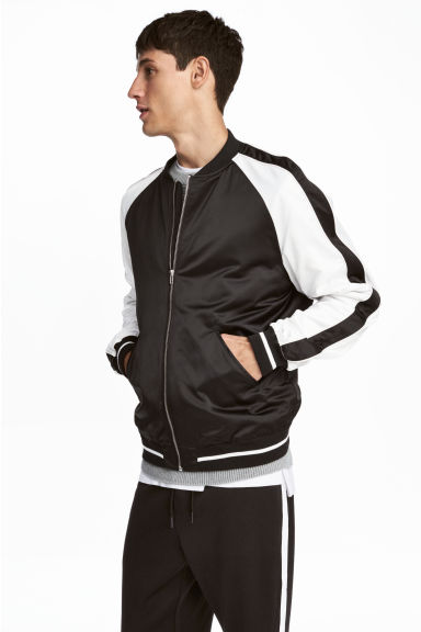 Satin bomber jacket - Black/White - Men | H&M CA 1