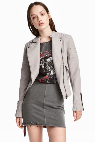 Biker jacket - Grey beige - Ladies | H&M GB