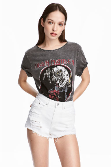 T-shirt with a print motif - Dark grey/Iron Maiden - Ladies | H&M 1