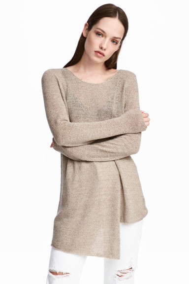 Asymmetric jumper - Grey beige - Ladies | H&M 1