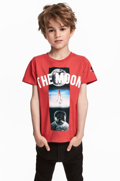 Printed T-shirt - Red/Astronaut - Kids | H&M 1