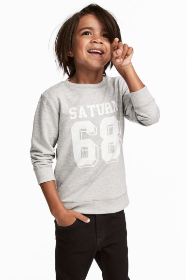 Sweatshirt with Printed Design - Gray melange - Kids | H&M CA 1