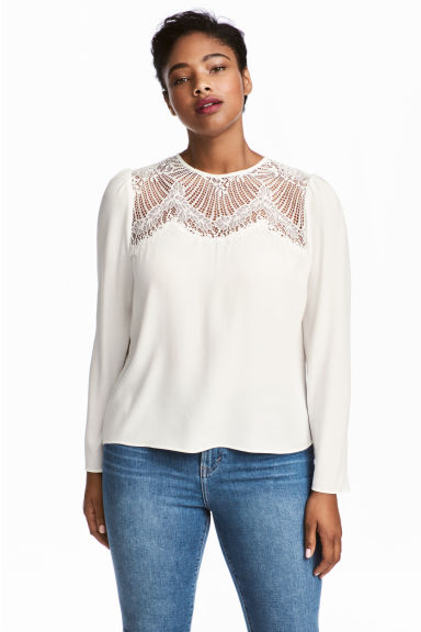 Blouse with a lace yoke - 白色 - Ladies | H&M CN