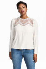 H&M+ Blouse with Lace Yoke - White - Ladies | H&M CA 1