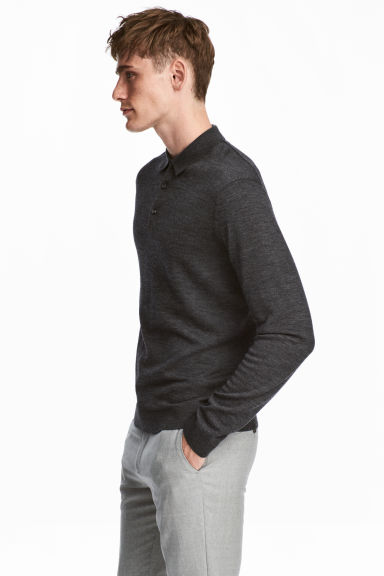 Merino wool polo shirt - Dark grey marl - Men | H&M 1