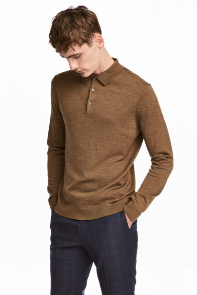 Merino wool polo shirt - Camel -  | H&M