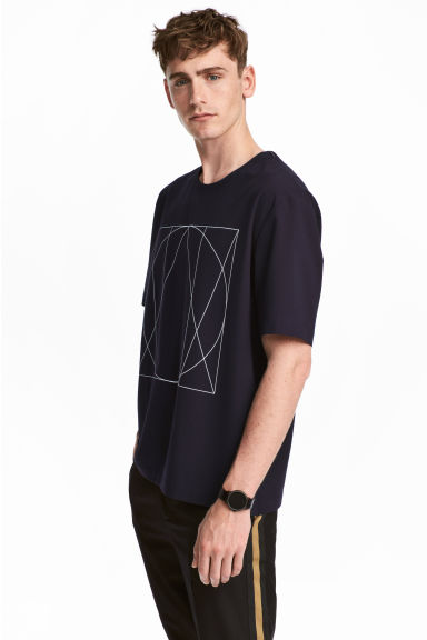 Woven T-shirt with print motif - Dark blue - Men | H&M CN 1