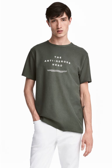 Cotton piqué T-shirt - Khaki green - Men | H&M CN 1
