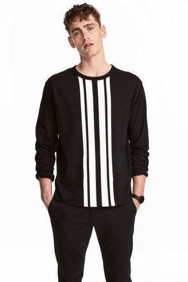 Printed long-sleeved T-shirt - Black - Men | H&M 1